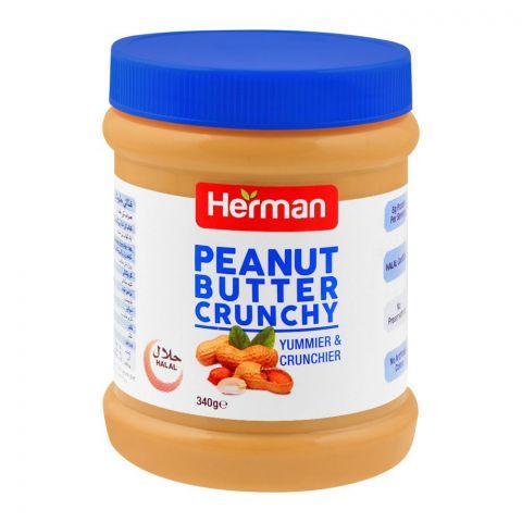 Herman Peanut Butter, Crunchy, 340g