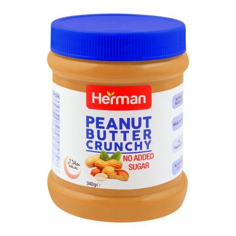 Herman Peanut Butter, Crunchy, No Added Sugar, 340g