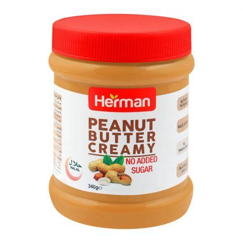 Herman Peanut Butter, Creamy, No Added Sugar, 340g