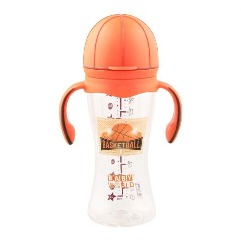 Baby World Contra Colic Wide Neck Feeding Bottle With Handle, Basketball Design, 280ml/9oz, BW2033