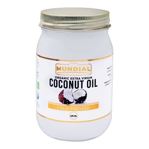 Mundial Organic Extra Virgin Coconut Oil, Cold Pressed, 475ml