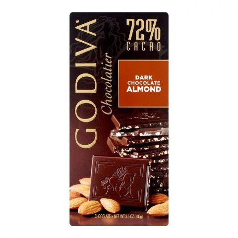 Godiva Dark Almond Chocolate Bar, 72% Cacao, 100g