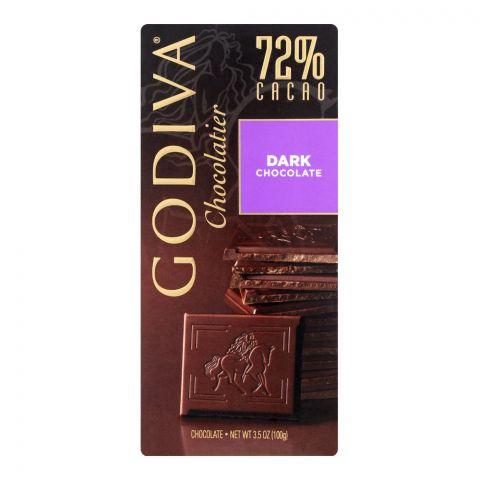 Godiva Dark Chocolate Bar, 72% Cacao, 100g