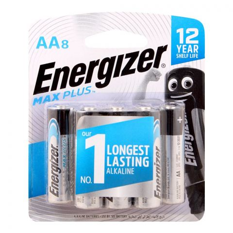 Energizer AA Max Plus Long Lasting Alkaline Battery, 8-Pack, BP-8