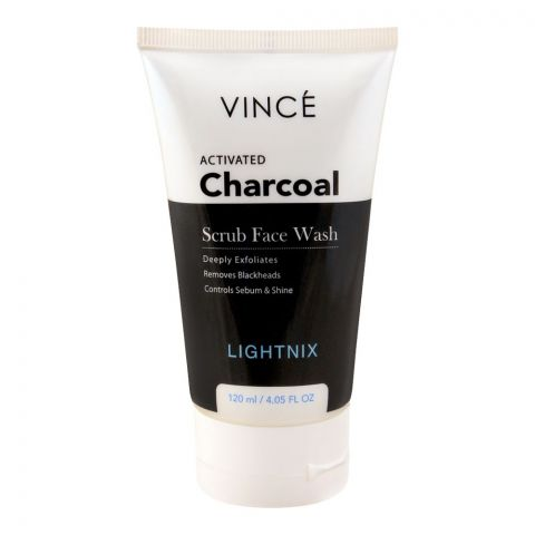 Vince Activated Charcoal Lightnix Scrub Face Wash, Paraben Free, Removes Blackheads, 120ml