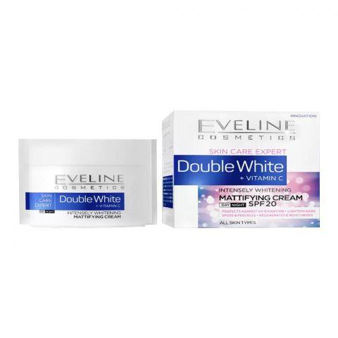 Eveline Double White+ Vitamin C Intensely Whitening Mattifying Day & Night Cream, All Skin Types, 50ml