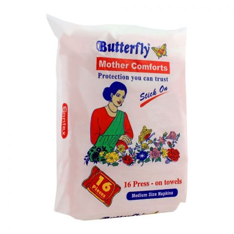 Butterfly Mother Comforts Stick On Napkins, Medium, 16-Pack