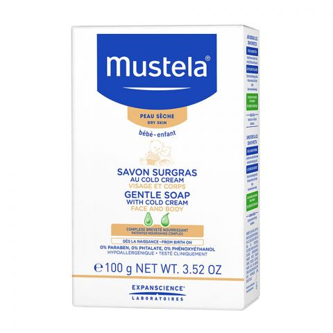 Mustela Gentle Soap With Cold Cream, Face & Body, Dry Skin, 100g