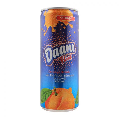 Daani Float Orange Drink, With Fruit Pieces, Can, 250ml