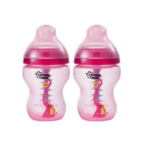 Tommee Tippee Advanced Anti-Colic PP Baby Feeding Bottle, Red/Elephant, 2-Pack, 0m+, 260ml/9oz, 422658/38