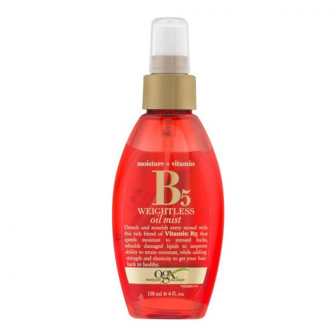 OGX Moisture + Vitamin B5 Weightless Hair Oil Mist, 118ml
