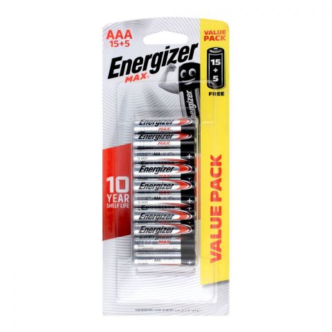 Energizer Max AAA Batteries, 15+5 Value Pack, BP-15+5