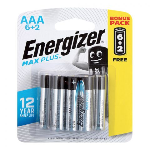 Energizer Max Plus AAA Batteries, 6+Ba2 Pack, BP-6+2