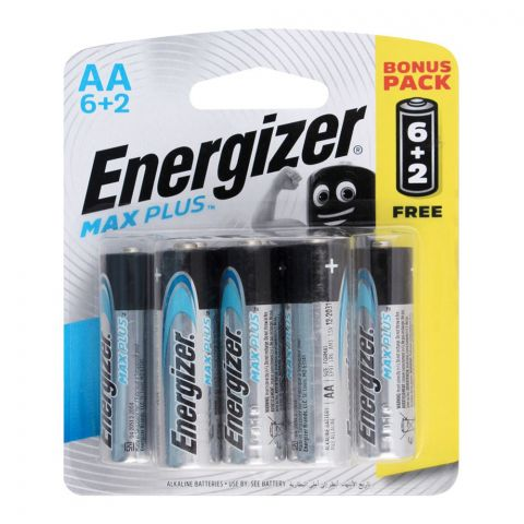 Energizer Max Plus AA Batteries, 6+2 Pack, BP-6+2