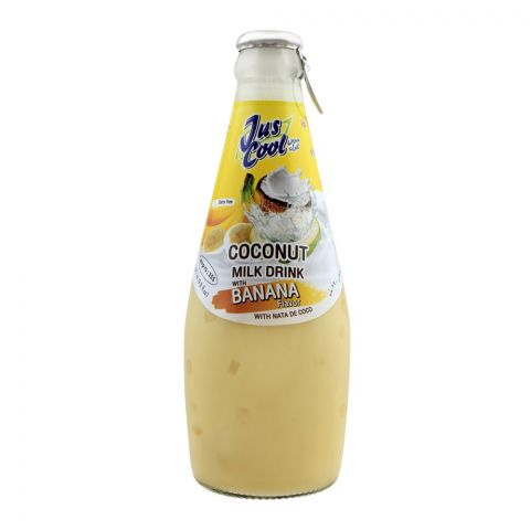 Jus Cool Coconut Milk Drink With Banana Flavor, With Nata De Coco, 290ml
