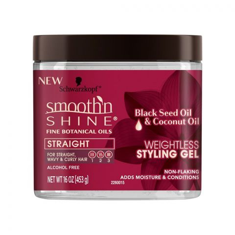 Schwarzkopf Smooth'n Shine Weightless Styling Gel, Black Seed Oil & Coconut Oil, 453g