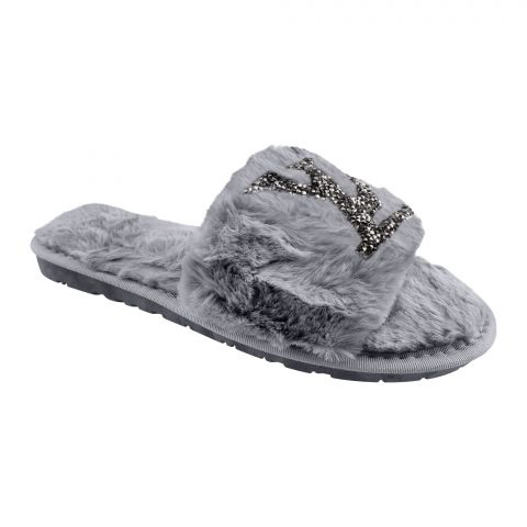 LV Style Women's Bedroom Slippers, Grey, 1216