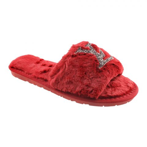 LV Style Women's Bedroom Slippers, Red, 1216