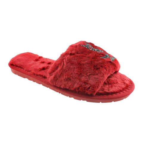 YSL Style Women's Bedroom Slippers, Red, 1218