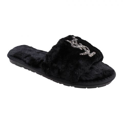 YSL Style Women's Bedroom Slippers, Black, 1218