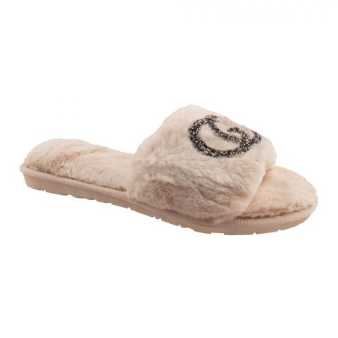 Gucci Style Women's Bedroom Slippers, Beige, 1219