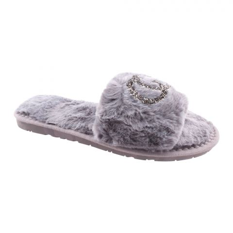 Gucci Style Women's Bedroom Slippers, Grey, 1219