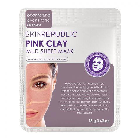 Skin Republic Pink Clay Mud Sheet Face Mask, 18g