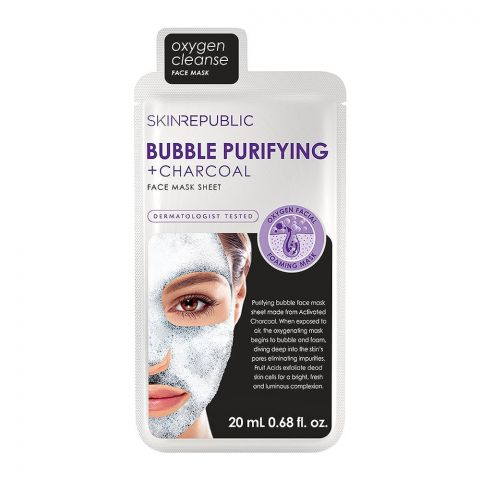 Skin Republic Bubble Purifying + Charcoal Face Mask Sheet, 20ml