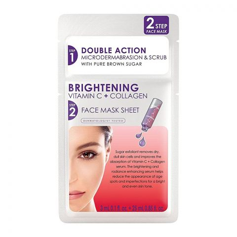 Skin Republic Double Action Brightening Step 2 Face Mask Sheet, Vitamin C + Collagen