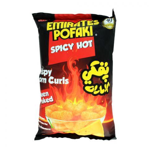 Emirates Pofaki Spicy Hot Crispy Corn Curls, Oven Baked, Gluten Free, 80g