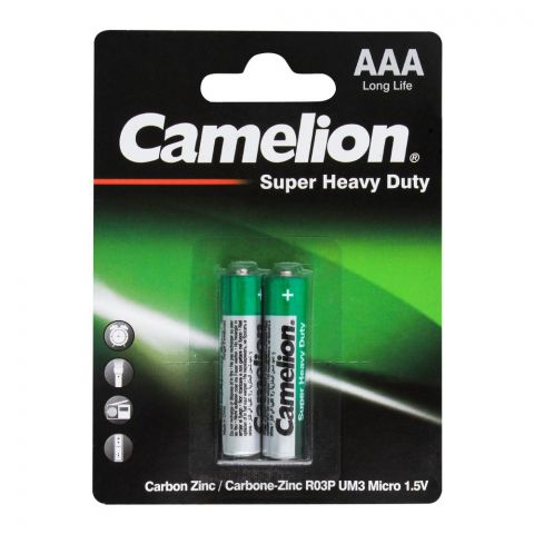 Camelion Super Heavy Duty AAA Batteries, 2-Pack, R03P-BP2G