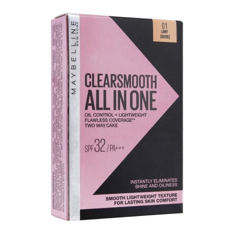 Maybelline New York Clear Smooth All In One Two Way Cake Refill, 01 Light
