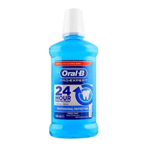 Oral-B Pro-Expert Fresh Mint Mouth Wash, 24 Hour Protection, 500ml