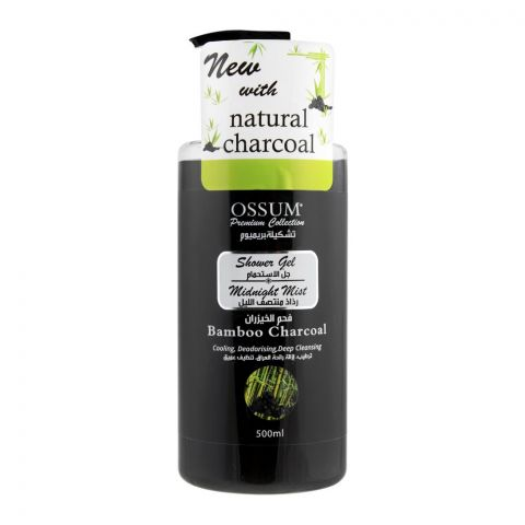 Ossum Natural Bamboo Charcoal Midnight Mist Shower Gel, 500ml