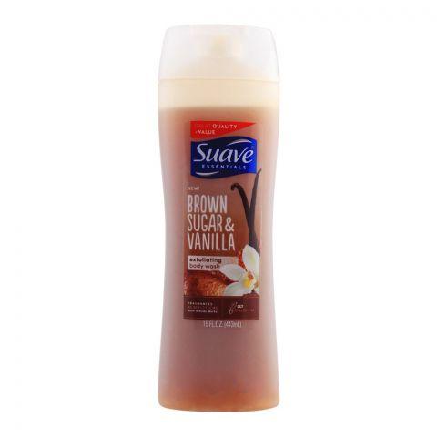 Suave Essentials Brown Sugar & Vanilla Exfoliating Body Wash, 443ml