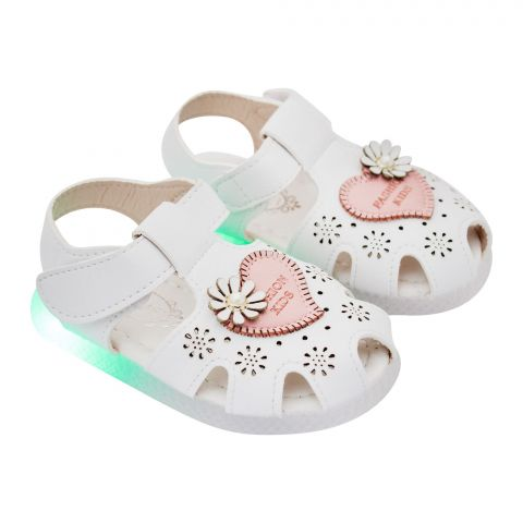 Kids Sandals With Light, For Girls, 818, White
