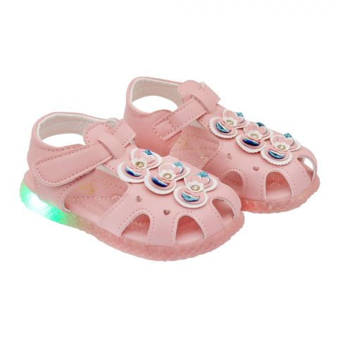 Kids Sandals With Light, For Girls, 18-5A, Pink