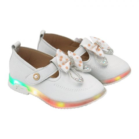 Kids Shoes With Light, For Girls, A06, Silver