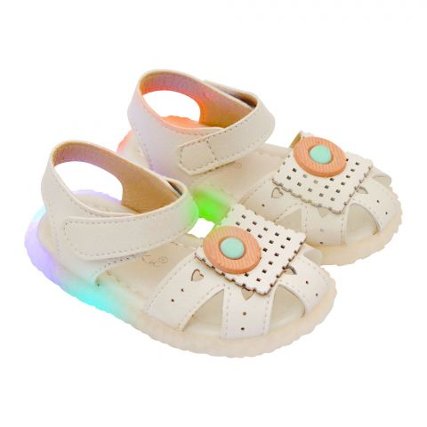 Kids Sandals With Light, For Girls, 8808-7, Beige