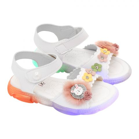 Kids Sandals With Light, For Girls, MA-1B, White