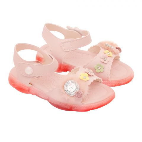 Kids Sandals With Light, For Girls, MA-1B, Pink