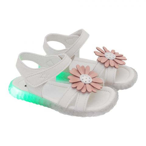 Kids Sandals With Light, For Girls, A158-1, White