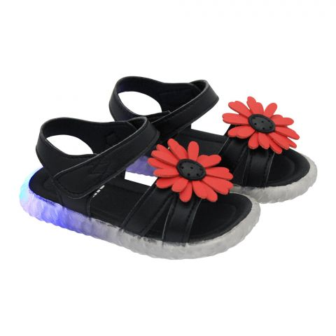 Kids Sandals With Light, For Girls, A158-1, Black