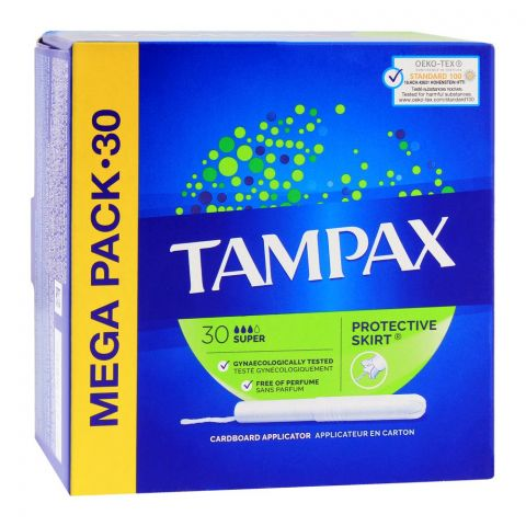 Tampax Protective Skirt Super Tampons, Perfume Free, 30-Pack