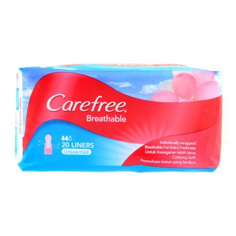 Carefree Breathable Liners, Unscented Pantyliners, 20-Pack