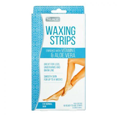 Nuage Vitamin E & Aloe Vera Normal Skin Waxing Strips, 16-Pack