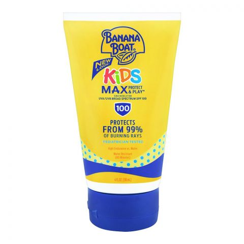 Banana Boat Kids Max Protect & Play Sunscreen Lotion, SPF 100, 118ml