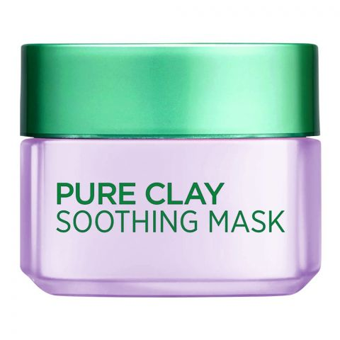 L'Oreal Pure Clay Soothing Mask, 3 Pure Clays + Mallow Flower Extract