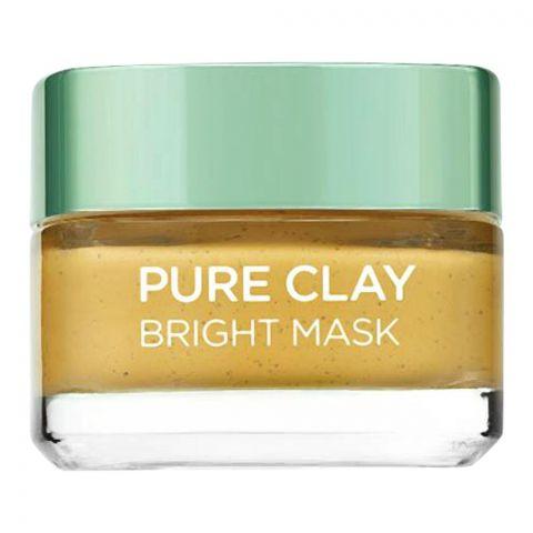 L'Oreal Paris Pure Clay Bright Mask, 3 Pure Clays + Yuzu Citrus, 50ml