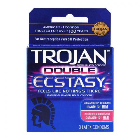 Trojan Double Ecstasy Lubricant Latex Condom, 3-Pack